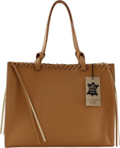 Kožená hnedá kabelka cez rameno 2v1 Cloe VERA PELLE - Glami.sk 60d4a11466f