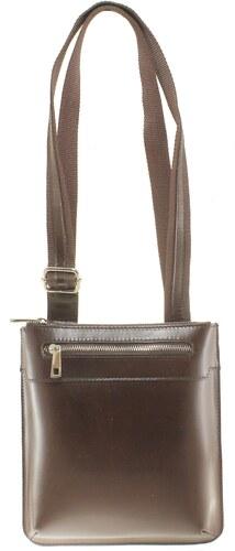 Kožená tmavo hnedá crossbody kabelka cez rameno Desire VERA PELLE ... ce6974459c1