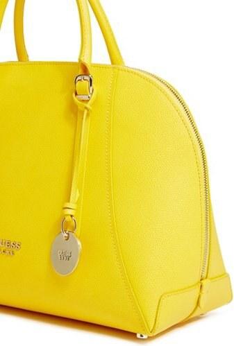 354d3aafad Kožená kabelka Guess Lady Luxe Leather Dome Sacthel žlutá - Glami.cz