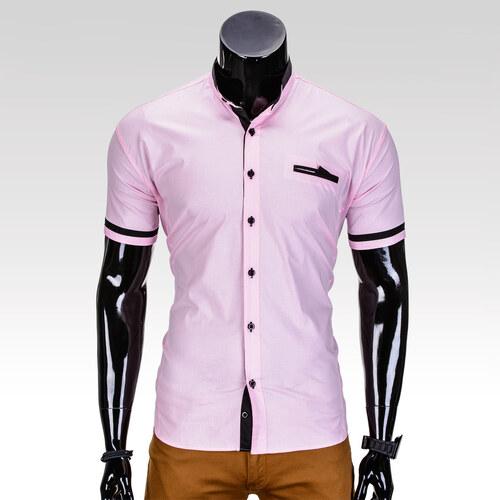 5df6e7fc8eae Ombre Clothing Pánska košeľa s krátkym rukávom Myles ružová - Glami.sk