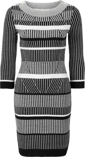 BODYFLIRT boutique Bonprix - robe d été Robe en maille noir manches 7 8  pour femme 6d70f80f7a04