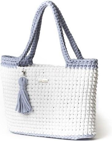 Justin Design Háčkovaná kabelka Justýna bílá se světle šedou - Glami.cz 35ee2852425