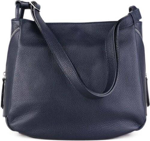 ITALSKÉ Kožené velké crossbody kabelky pro dámy Moderna modré 4ed75c4909