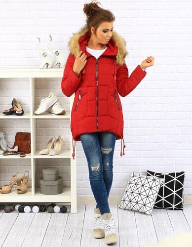Dámska zimná bunda s kapucňou (ty0087) - červená