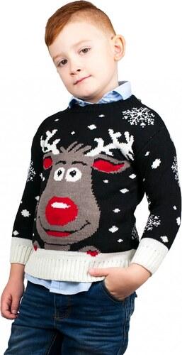 5a65a9f82e5a KONO Detský vianočný sveter so sobom - čierny - Glami.sk