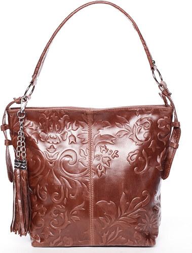 Dámska kožená kabelka cez rameno svetlo hnedá - ItalY Heather hnedá ... 27804d75dc2