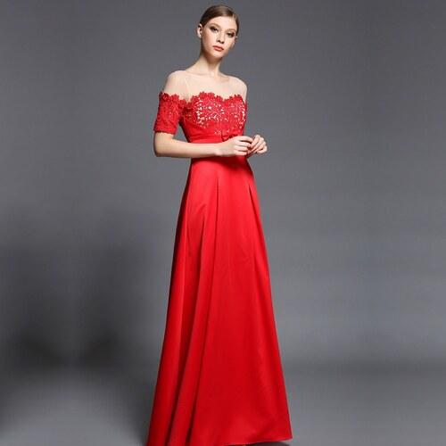 ae88f71763d Dorisqueen Červené luxusní saténové šaty s jemně zdobeným živůtkem ...