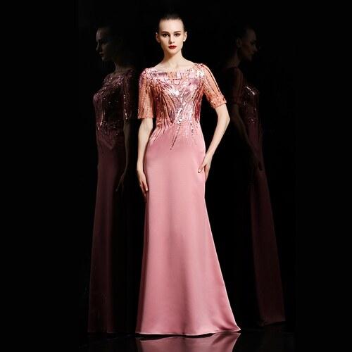913d7032ffd Dorisqueen Luxusní saténové šaty s flitrovaným živůtkem - Glami.cz