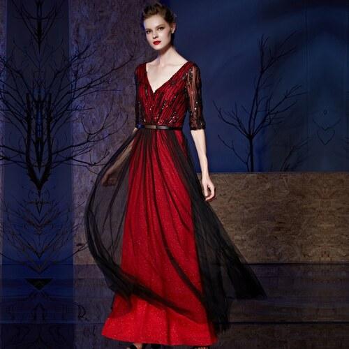 acde531bc15 Dorisqueen Červenočerné luxusní saténové šaty - Glami.cz
