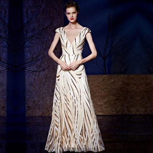 b80f9c3ad34 Dorisqueen Barevné luxusní dlouhé šifonové šaty - Glami.cz