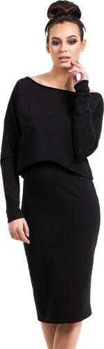 BE WEAR Čierne púzdrové úpletové šaty CAMI B001 - Glami.sk 35a9143b8ba