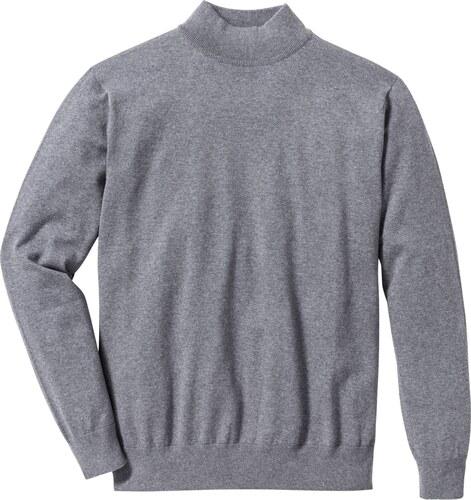 352e324d9c500 bpc selection Bonprix - Pull col montant en fine maille Regular Fit gris manches  longues pour homme