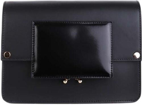 54e38fdfa4 Talianske malé kožené kabelky crossbody dámske listové čierne Zafira  spoločenské