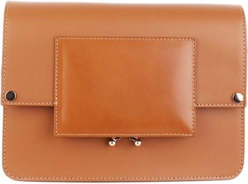2b576abef6f0 Talianske malé kožené kabelky crossbody dámske listové camel Zafira  spoločenské