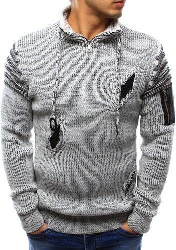 b54d5a5fd21e Pánsky štýlový sveter (wx0947) - biely 07-wx0947 - Glami.sk