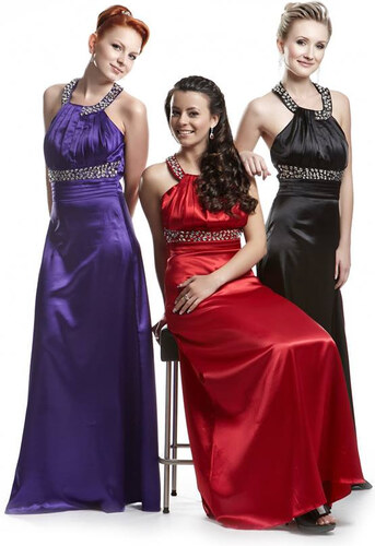 Elegantní saténové plesové šaty ve 3 barvách s ramínkem kolem krku ... fa9e40eba5