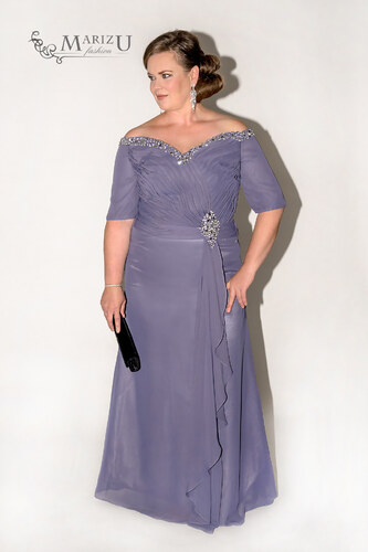 9b1ad84e060f Marizu fashion šedé plesové elegantní šaty s rukávky pro moletky ...