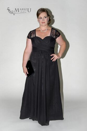 Marizu fashion elegantní černé šifonové plesové šaty s krajkou pro moletky af10614f30