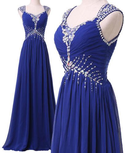 916e032532a Nádherné plesové šaty v královské modré zdobené kamínky na ramínka ...