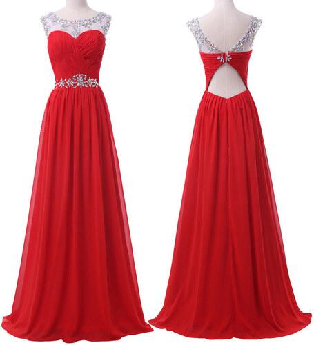 Krásné červené šifonové plesové 4c2d42e61d5