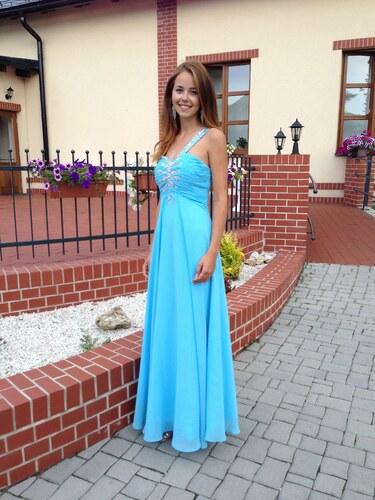 Krásné modré plesové společenské šaty na míru ze šifonu na jedno rameno ccc913646b