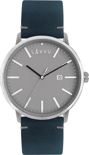 Šedo-modré pánské hodinky LAVVU COPENHAGEN NIGHTS s koženým páskem LWM0032 cb05c688f7b