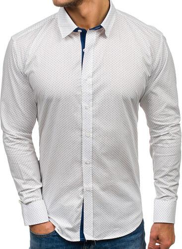 ed74bd97eb03 Biela pánska vzorovaná košeľa s dlhými rukávmi BOLF GET1011 - Glami.sk
