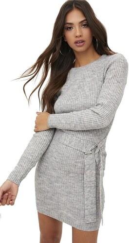 e2e10d241bc PRETTYLITTLETHING Pletené šedivé mini šaty s opaskom - Glami.sk
