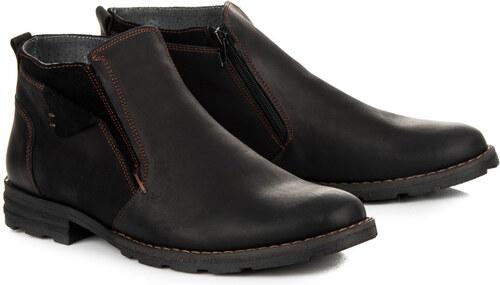 LUCCA Zateplené černé pánské kožené kotníkové boty na zip - Glami.cz 4bf6ab02ee
