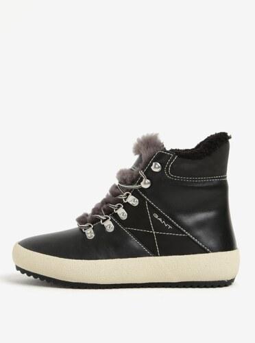 Čierne dámske kožené zateplené členkové topánky GANT Amy - Glami.sk 5f8db73b255