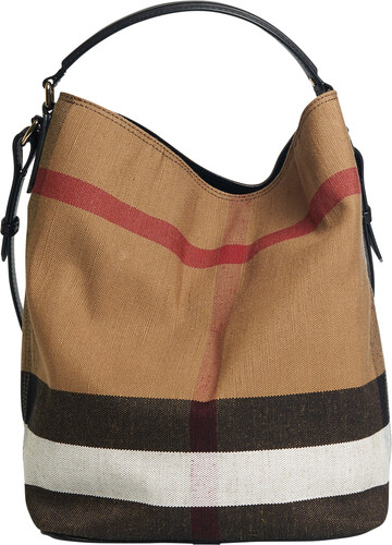 Sac seau The Ashby medium à motif Canvas check avec cuir Noir Burberry 9593e1caeaf