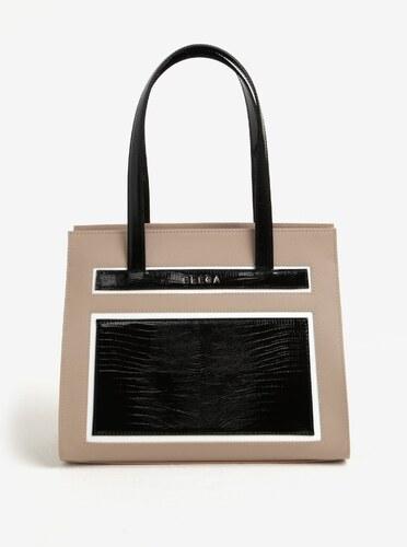 Černo-béžová kožená kabelka s hadím vzorem ELEGA Isabel - Glami.cz fe91750cb30