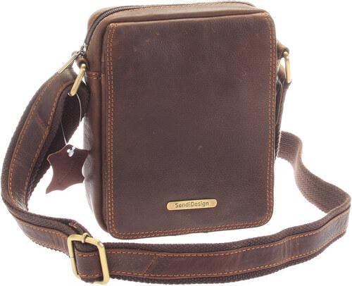 SendiDesign Menšia hnedá pánska kožená taška - Sendi Design Merl hnedá 8c17afd6cee