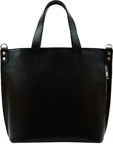 8940e28dcf Kožená shopper bag kabelka Vera Pelle 1777 černá - Glami.cz