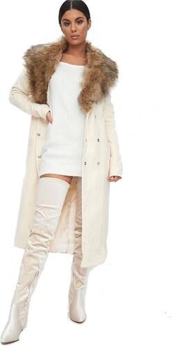 30100f41fd9d PRETTYLITTLETHING Kabát s odnímateľným kožušinovým golierom - Glami.sk