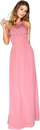 8a8b0b50d71d LITTLE MISTRESS Ružové maxi šaty s dekorovaným topom a plisé pasom ...