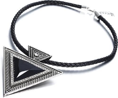 b04f0cd8b4c8 B-TOP Dámsky náhrdelník TRIANGLE - čierny strieborný - Glami.sk