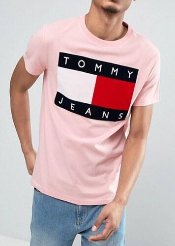 Tommy Hilfiger pánské světle růžové tričko TOMMY JEANS - Glami.cz ce975bfbe76