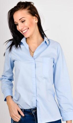 fc04954a7fe Dámská modrá košile s perlami na límečku (84903-21) - Glami.cz