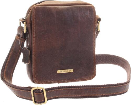SendiDesign Menšia hnedá pánska kožená taška - Sendi Design Merlin hnedá 629481c9128