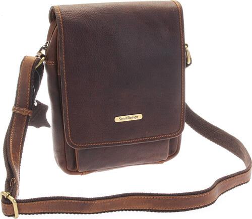 SendiDesign Hnedá luxusná kožená pánska taška - Sendi Design Heliodoros  hnedá bd9c83673f5