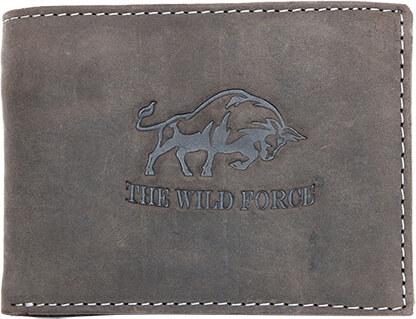 Šedonědá pánská kožená peněženka The Wild force s býkem podélná ... 227dcc0266