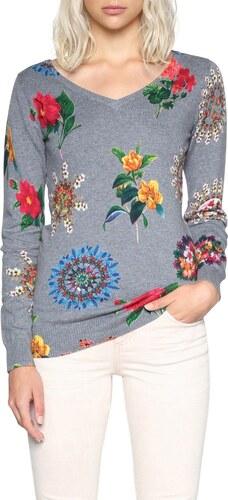Desigual sivý kvetovaný sveter Perkin - Glami.sk 90ebb323a23