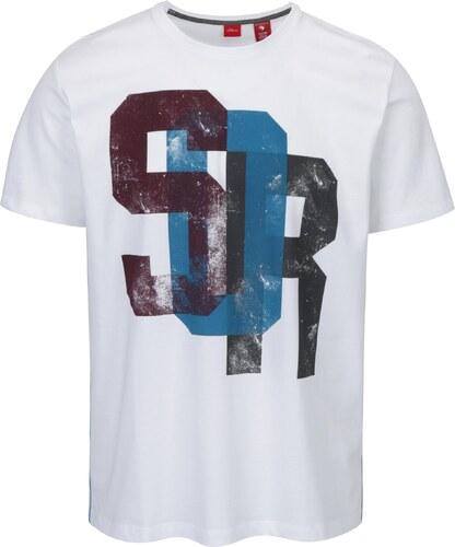 63ff474687b Bílé pánské tričko s potiskem a pruhy na bocích s.Oliver - Glami.cz