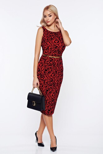Piros StarShinerS ruha elegáns ceruza öv típusú kiegészítővel - Glami.hu e773c3f7f8