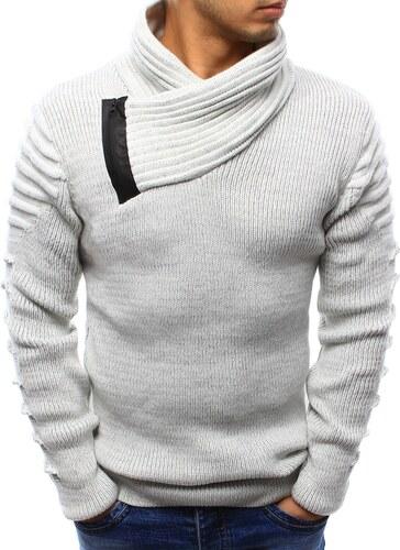 Fehér kötött pulóver érdekes nyakmegoldással - Glami.hu 0706b32191