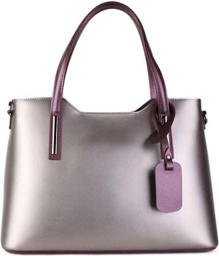 97374ce3503 Talianske kožené kabelky cez plece kráľovské fialové Carina veľké ...