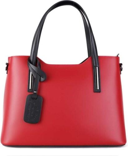 a8c21df3b2 ITALSKÉ Velké kožené kabelky přes rameno Vera Pelle červené s černou Carina