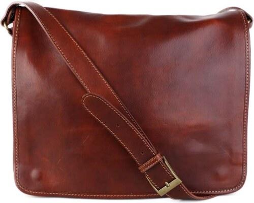 c62998c7c6 Talianske kožené kabelky pánske cez plece veľké hnedé Marek - Glami.sk