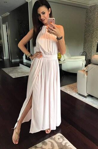 YNS Dámské společenské šaty maxi šaty růžové - Glami.cz 9a45a67c50